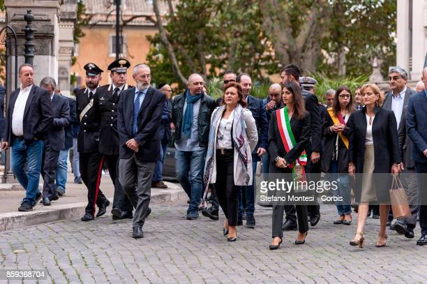 Riccardo Di Segni Chief Rabbi Ruth Dureghello President of the Jewish Community of Rome Virginia Raggi Mayor of Rome Noemi Di Segni President of the...