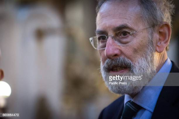 Riccardo Di Segni during the official visit to Synagogue of Rome by the Interior Minister Marco Minniti