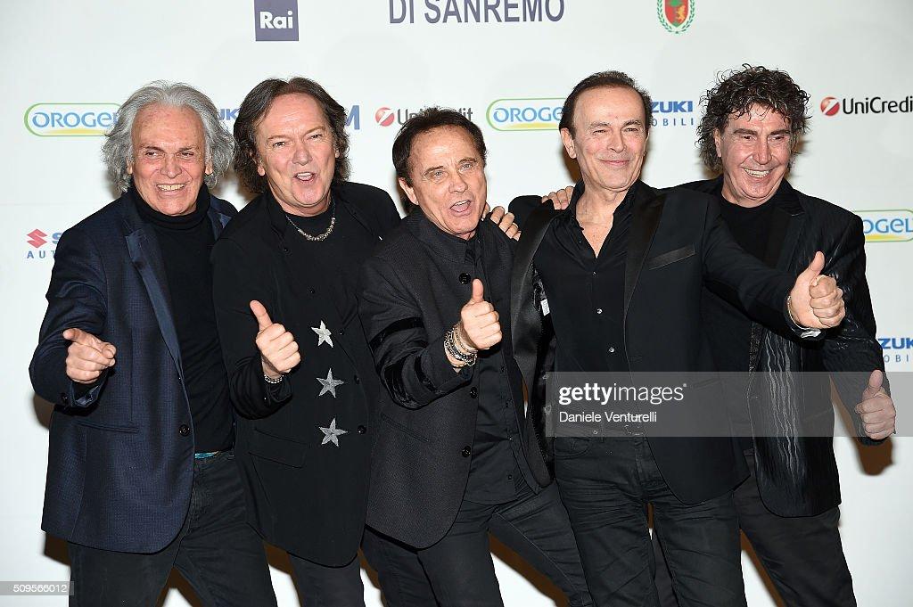 Riccardo Fogli, Red Canzian, Roby Facchinetti, Dodi Battaglia and Stefano D'Orazio of POOH attend a photocall at 66. Sanremo Festival on February 11, 2016 in Sanremo, Italy.