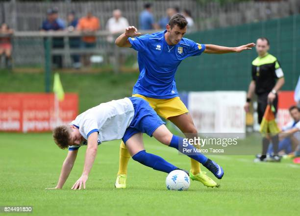 Riccardo Gagliolo of Parma Calcio competes for the ball during the preseason friendly match between Parma Calcio and Dro on July 30 2017 in Pinzolo...