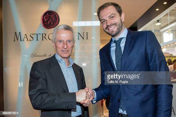 Riccardo Illy and Paul Baccaglini President of Palermo visit Vinitaly on April 10 2017 in Verona Italy