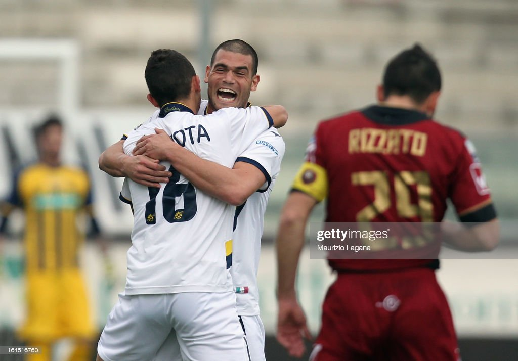 Riccardo Improta of Juve Stabia celebrates the opening goal with Adriano Mazavilla during the Serie B match between Reggina Calcio and SS Juve Stabia...