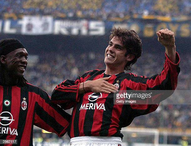 Riccardo Kaka of Milan celebrates during the Serie A match between Internazionale and AC Milan at the San Siro October 5 2003 in Milan Italy