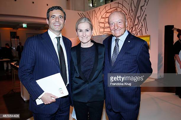 Riccardo M Monti Petra Fladenhofer and Lucio Caputo attend the 'Studio Italia La Perfezione del Gusto' Grand Opening at KaDeWe on April 02 2014 in...