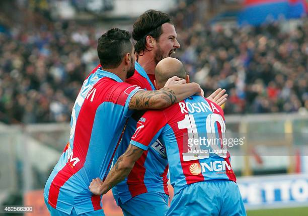 Riccardo Maniero of Catania celebrates after scoring the opening goal during the Serie B match between Calcio Catania and AC Perugia at Stadio Angelo...