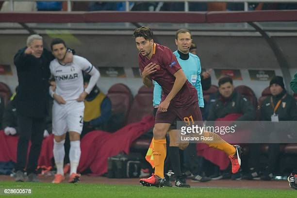 Riccardo Marchizza makes his debut with AS Roma first team during the UEFA Europa League match between FC Astra Giurgiu and AS Roma at on December 8...