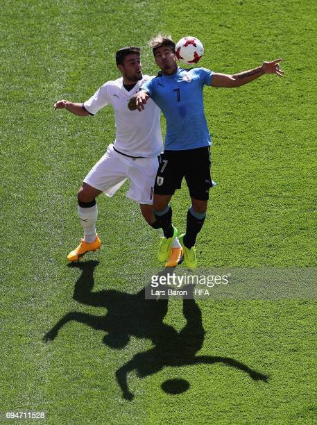 Riccardo Marchizza of Italy challenges Joaquin Ardaiz of Uruguay during the FIFA U20 World Cup Korea Republic 2017 3rd rank playoff match between...