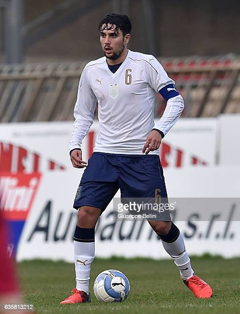 Riccardo Marchizza of Italy U19 in action during the International Friendly match between Italy U19 and Serbia U19 at on December 14 2016 in San...