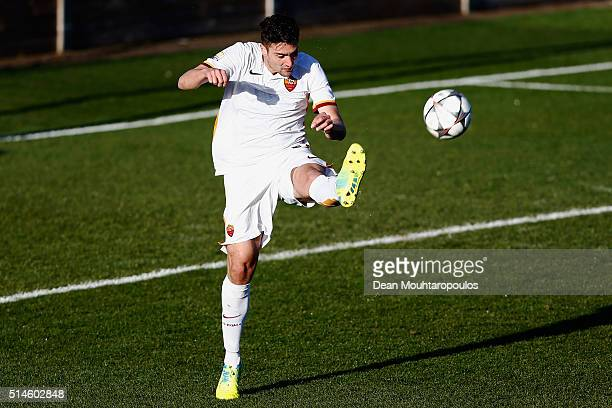 Riccardo Marchizza of Roma in action during the UEFA Youth League Quarterfinal match between Paris Saint Germain and AS Roma at Stade GeorgesLefevre...