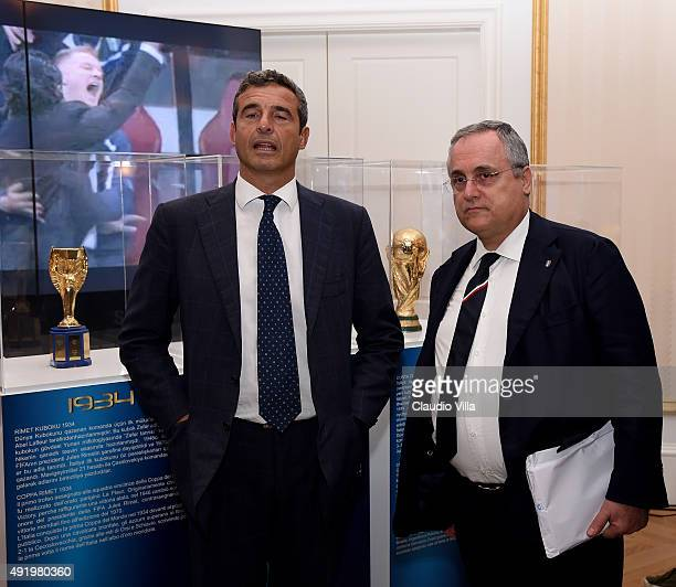 Riccardo Maria Monti and Claudio Lotito attend during 'Made In Italy On The Field' press conference on October 9 2015 in Baku Azerbaijan