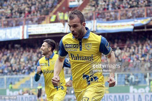 Riccardo Meggiorini of AC Chievo Verona celebrates after scoring a goal during the Serie A match between UC Sampdoria and AC Chievo Verona at Stadio...