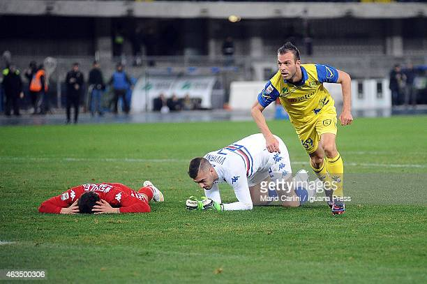Riccardo Meggiorini of AC Chievo Verona celebrates after scoring his team's second goal during the Serie A match between AC Chievo Verona and UC...