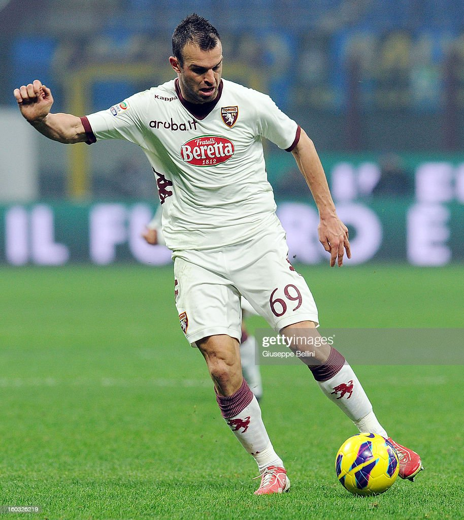 Riccardo Meggiorini of Torino in action during the Serie A match between FC Internazionale Milano and Torino FC at San Siro Stadium on January 27, 2013 in Milan, Italy.