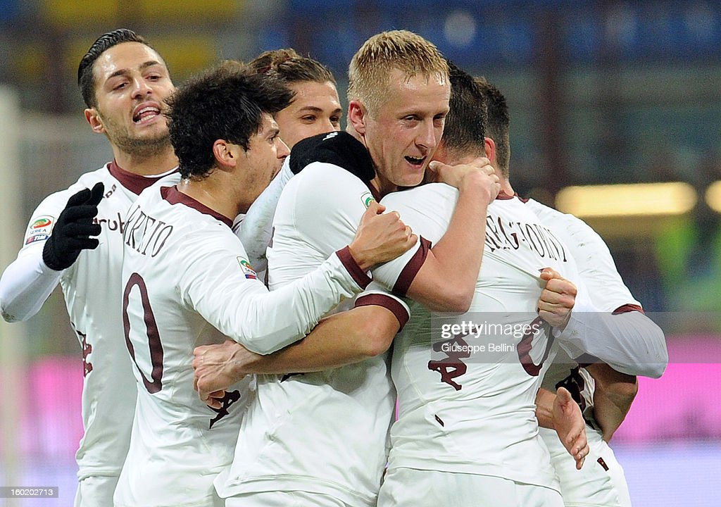 Riccardo Mggiorini of Torino celebrates after scoring the goal 1-1 during the Serie A match between FC Internazionale Milano and Torino FC at San Siro Stadium on January 27, 2013 in Milan, Italy.
