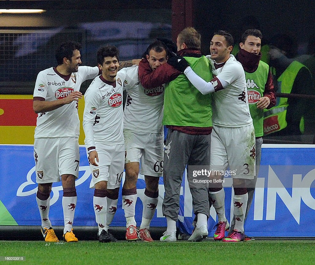 Riccardo Mggiorini (C) of Torino celebrates after scoring the goal 1-2 during the Serie A match between FC Internazionale Milano and Torino FC at San Siro Stadium on January 27, 2013 in Milan, Italy.