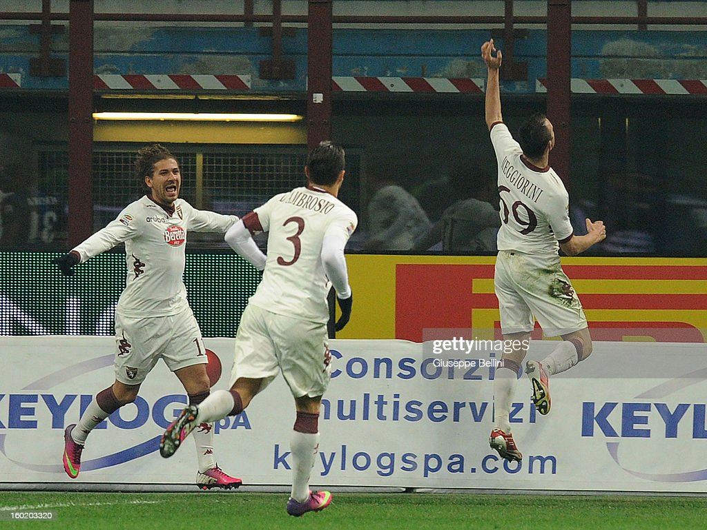 Riccardo Mggiorini (R) of Torino celebrates after scoring the goal 1-2 during the Serie A match between FC Internazionale Milano and Torino FC at San Siro Stadium on January 27, 2013 in Milan, Italy.