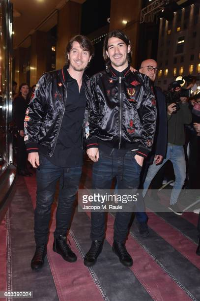 Riccardo Montolivo and Alessio Romagnoli attend The New Bomber Presentation at the Diesel Store on March 14 2017 in Milan Italy