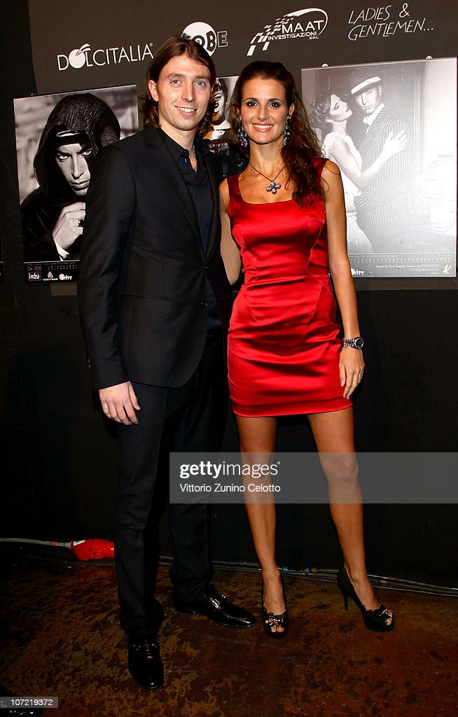 Riccardo Montolivo (L) and Cristina De Pin (R) attend the Fondazione Stefano Borgonovo Charity Event held at Spazio Antologico on November 30, 2010 in Milan, Italy.