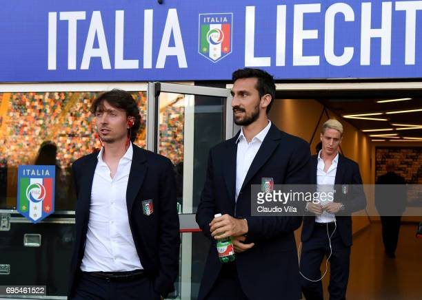 Riccardo Montolivo and Davide Astori of Italy look on prior to the FIFA 2018 World Cup Qualifier between Italy and Liechtenstein at Stadio Friuli on...