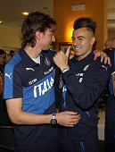 Riccardo Montolivo and Stephan El Shaarawy attend Italian Football Federation Sponsor's Day at Coverciano on May 24 2016 in Florence Italy