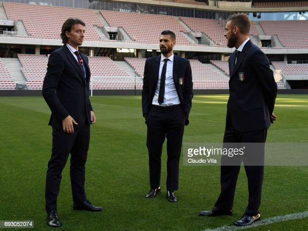 Riccardo Montolivo Antonio Candreva and Daniele De Rossi of Italy attend Italy walk around at Allianz Riviera Stadium on June 6 2017 in Nice France