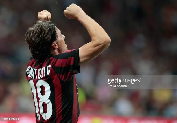 Riccardo Montolivo of AC Milan celebrates his goal during the UEFA Europa League Qualifying PlayOffs round first leg match between AC Milan and KF...