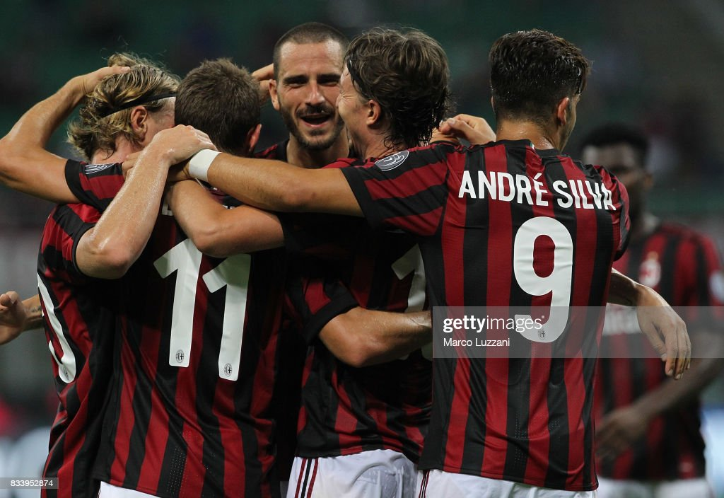 Riccardo Montolivo (C) of AC Milan celebrates his second goal with his team-mates during the UEFA Europa League Qualifying Play-Offs round first leg match between AC Milan and KF Shkendija 79 at Stadio Giuseppe Meazza on August 17, 2017 in Milan, Italy.