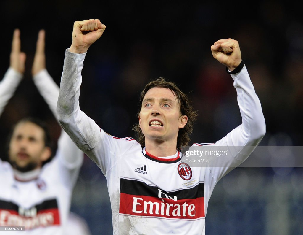 Riccardo Montolivo of AC Milan celebrates victory at the end of the Serie A match between Genoa CFC and AC Milan at Stadio Luigi Ferraris on March 8, 2013 in Genoa, Italy.