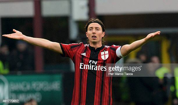 Riccardo Montolivo of AC Milan gesticulates during the Serie A match between AC Milan and Atalanta BC at Stadio Giuseppe Meazza on January 18 2015 in...