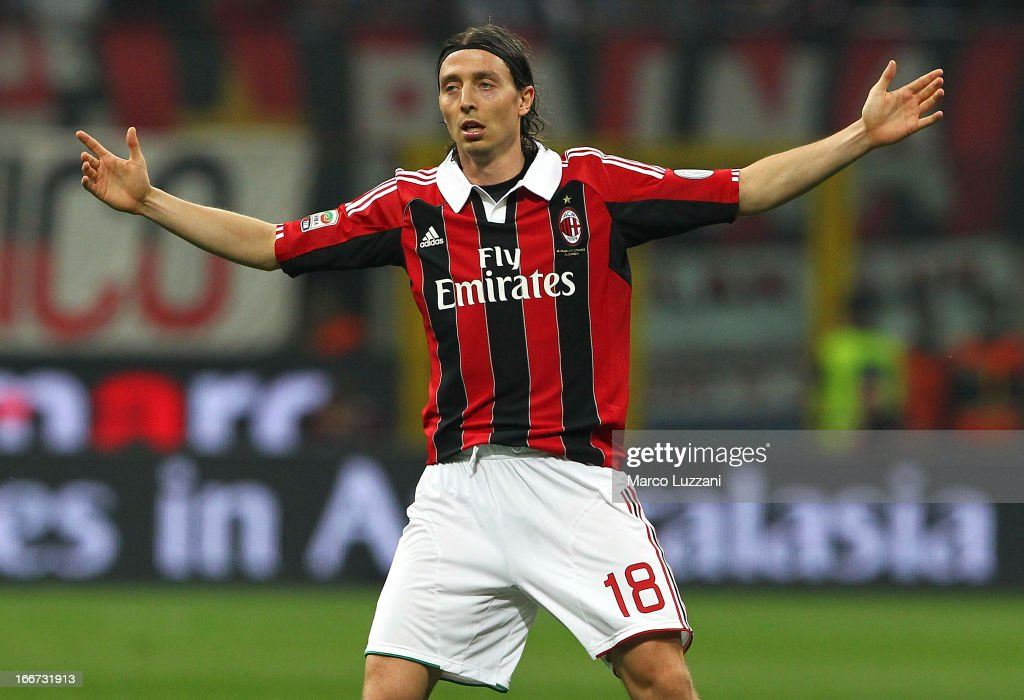 Riccardo Montolivo of AC Milan gestures during the Serie A match between AC Milan and SSC Napoli at San Siro Stadium on April 14, 2013 in Milan, Italy.