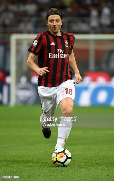 Riccardo Montolivo of AC Milan in action during Serie A soccer match between AC Milan and Cagliari Calcio at San Siro Stadium in Milan Italy on...