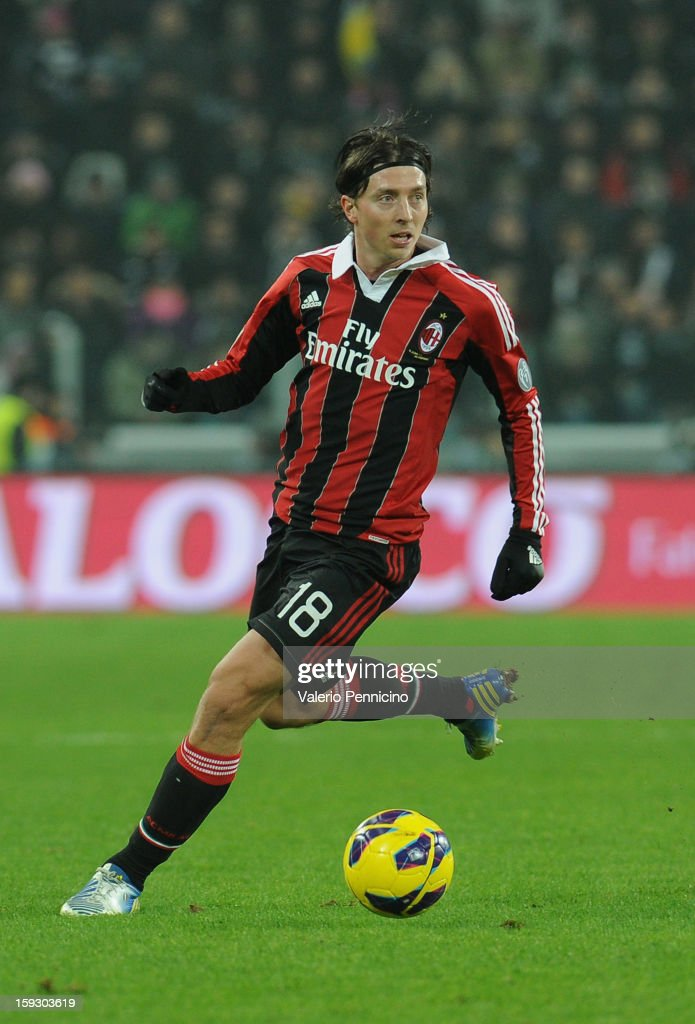 Riccardo Montolivo of AC Milan in action during the TIM cup match between Juventus FC and AC Milan at Juventus Arena on January 9, 2013 in Turin, Italy.