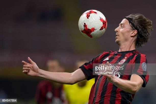 Riccardo Montolivo of AC Milan in action during the UEFA Europa League Qualifying PlayOffs Round First Leg match between AC Milan and KF Shkendija AC...