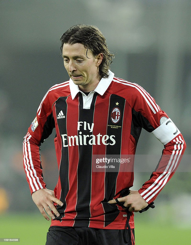 Riccardo Montolivo of AC Milan looks dejected after the TIM cup match between Juventus FC and AC Milan at Juventus Arena on January 9, 2013 in Turin, Italy.
