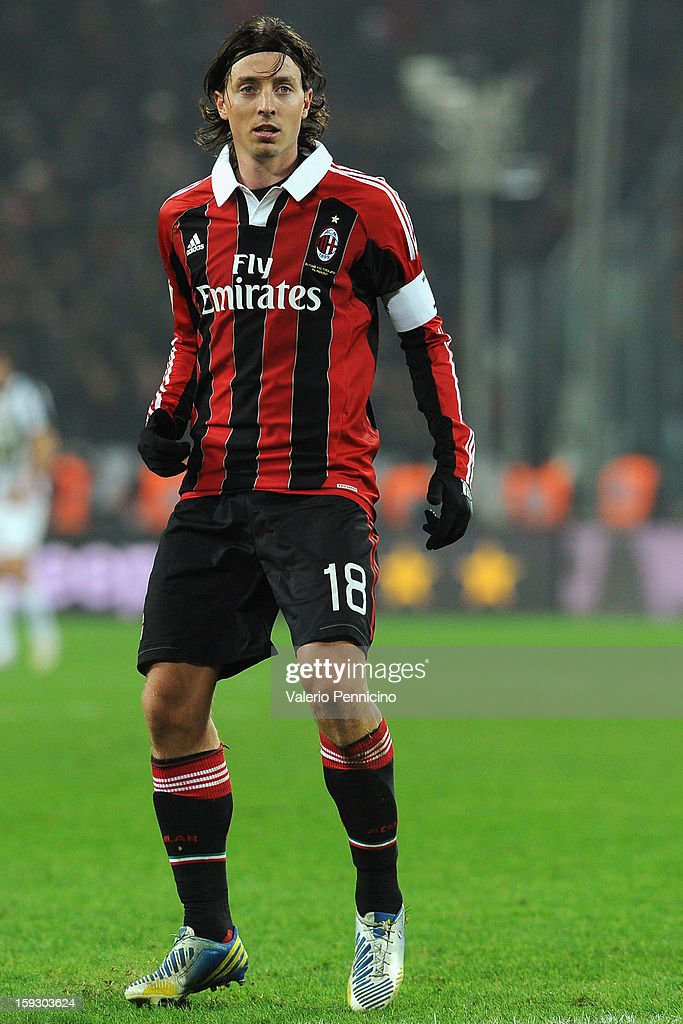 Riccardo Montolivo of AC Milan looks on during the TIM cup match between Juventus FC and AC Milan at Juventus Arena on January 9, 2013 in Turin, Italy.
