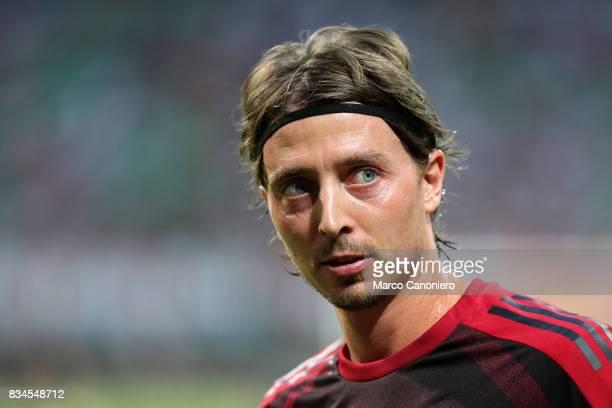 Riccardo Montolivo of AC Milan looks on during the UEFA Europa League Qualifying PlayOffs round first leg match between AC Milan and KF Shkendija AC...