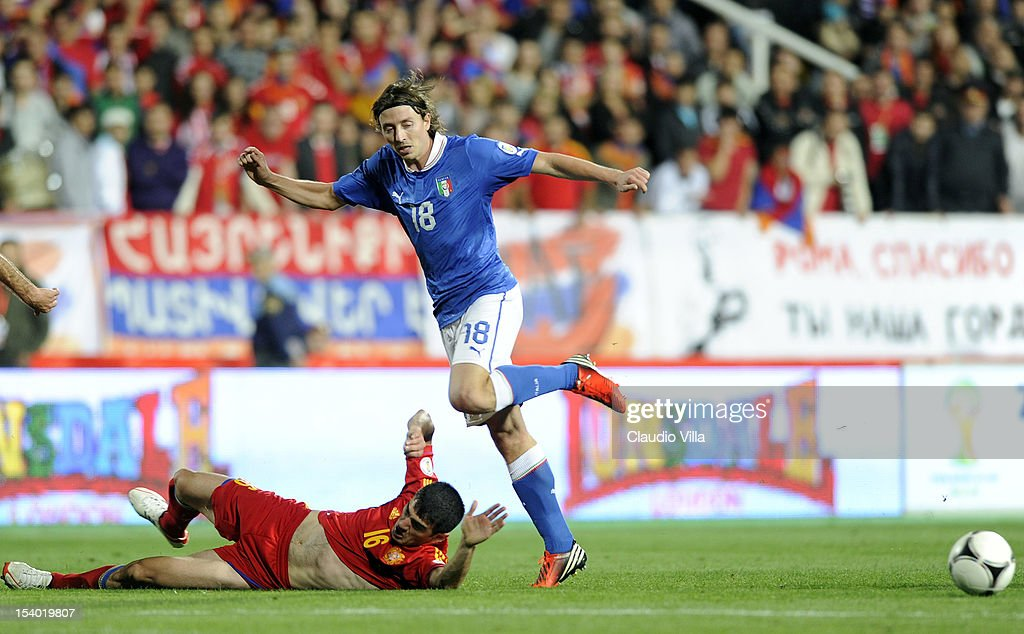 <a gi-track='captionPersonalityLinkClicked' href=/galleries/search?phrase=Riccardo+Montolivo&family=editorial&specificpeople=605846 ng-click='$event.stopPropagation()'>Riccardo Montolivo</a> of Italy during the FIFA 2014 World Cup Qualifier group B match between Armenia and Italy at Hrazdan Stadium on October 12, 2012 in Yerevan, Armenia.
