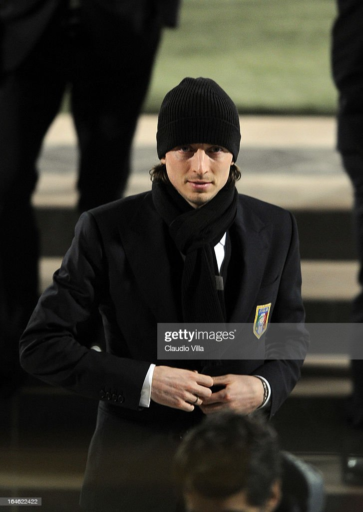 <a gi-track='captionPersonalityLinkClicked' href=/galleries/search?phrase=Riccardo+Montolivo&family=editorial&specificpeople=605846 ng-click='$event.stopPropagation()'>Riccardo Montolivo</a> of Italy inspects the pitch ahead of the FIFA 2014 World Cup qualifier match between Malta and Italy at Ta' Qali Stadium on March 25, 2013 in Valletta, Malta.