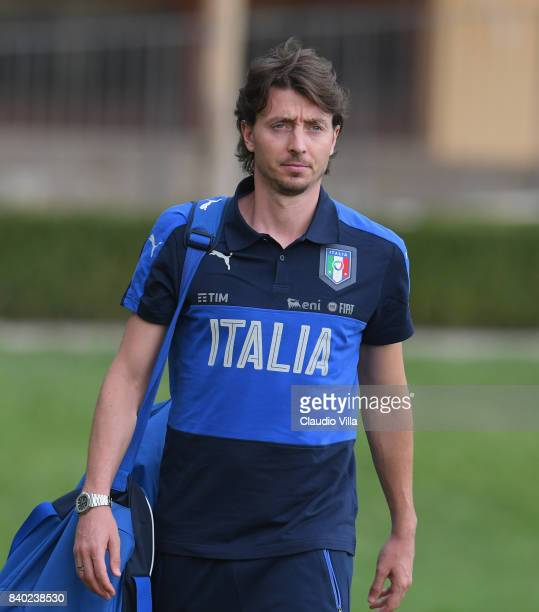 Riccardo Montolivo of Italy looks on during a training session at Coverciano on August 28 2017 in Florence Italy
