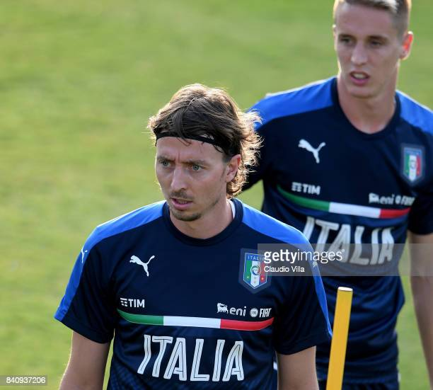 Riccardo Montolivo of Italy looks on during the training session at Coverciano on August 30 2017 in Florence Italy
