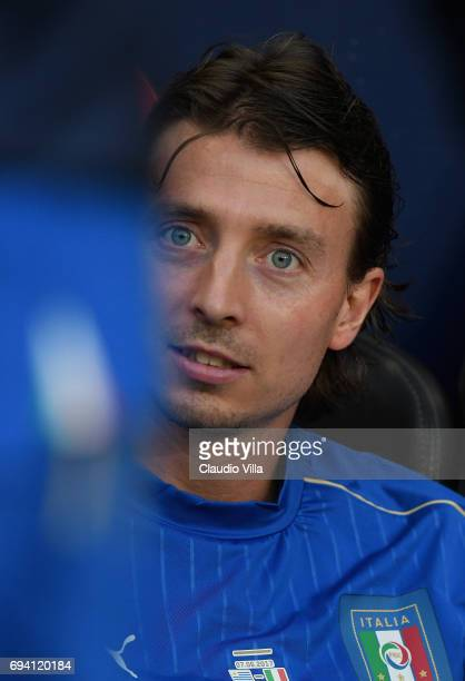 Riccardo Montolivo of Italy looks on prior to the International Friendly match between Italy and Uruguay at Allianz Riviera Stadium on June 7 2017 in...