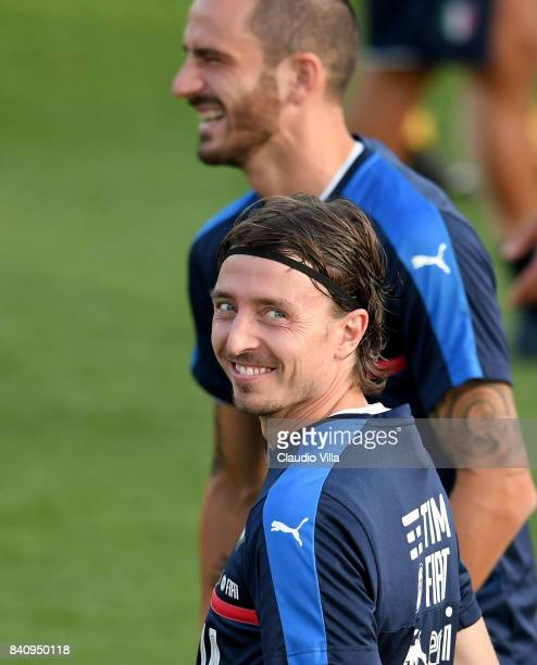 Riccardo Montolivo of Italy smiles during the training session at Coverciano on August 30 2017 in Florence Italy