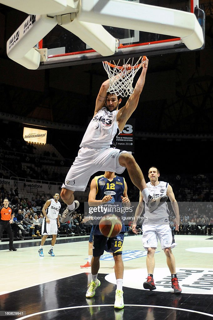 Riccardo Moraschini of SAIE3 in action during the LegaBasket Serie A match between Virtus Bologna SAIE3 and Sutor Montegranaro at Unipol Arena on February 3, 2013 in Bologna, Italy.