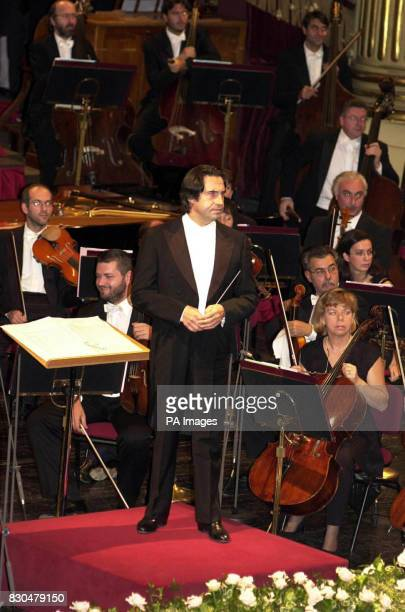Riccardo Muti conducting La Scala Philharmonic Orchestra in a performance of In The South by Edward Elgar attended by the Queen and Prince Philip at...