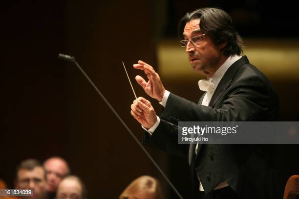 Riccardo Muti conducting the New York Philharmonic in Liszt's 'From the Cradle to the Grave Symphonic Poem No 13' at Avery Fisher Hall on Thursday...