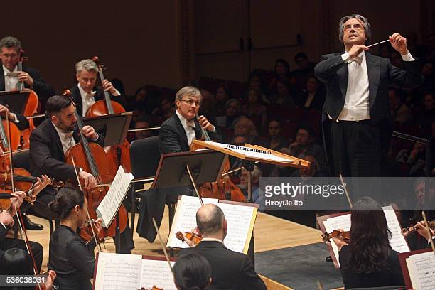 Riccardo Muti leading the Chicago Symphony Orchestra in the program of Mendelssohn Debussy and Scriabin at Carnegie Hall on Friday night January 30...
