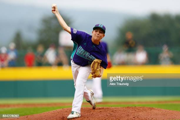 Riccardo Nepoti of the Europe Africa team from Italy pitches during Game 3 of the 2017 Little League World Series against the Canada team from...