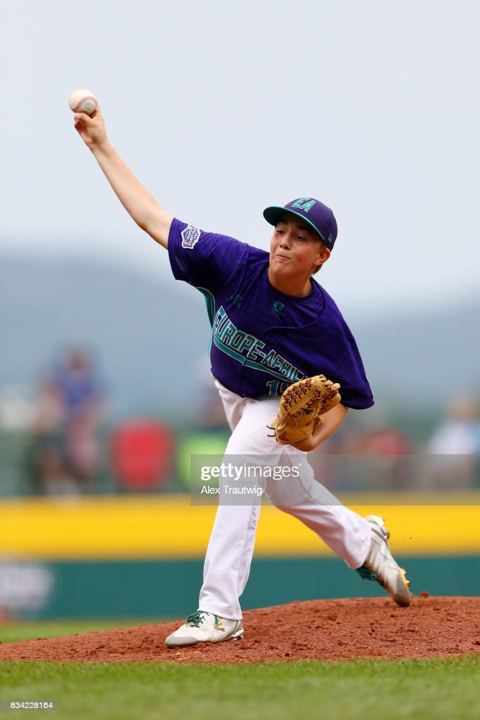 Riccardo Nepoti #15 of the Europe & Africa team from Italy pitches during Game 3 of the 2017 Little League World Series against the Canada team from British Columbia at Volunteer Stadium on Thursday, August 17, 2017 in South Williamsport, Pennsylvania.