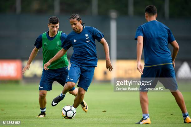 Riccardo Orsolini and Andres Tello of Juventus during the afternoon training session on July 9 2017 in Vinovo Italy