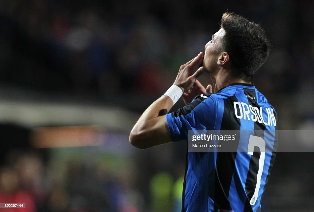 Riccardo Orsolini of Atalanta BC celebrates his goal during the Serie A match between Atalanta BC and FC Crotone at Stadio Atleti Azzurri d'Italia on September 20, 2017 in Bergamo, Italy.